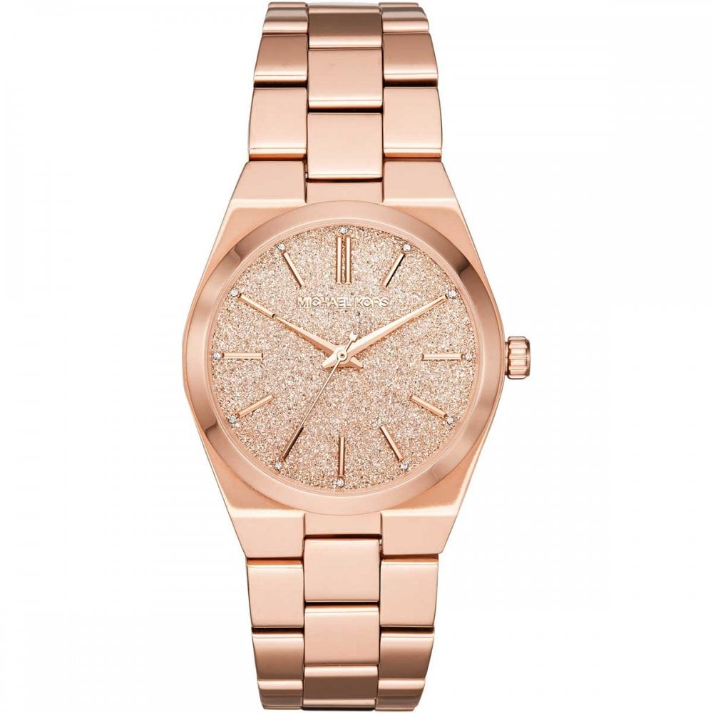 7686c898b3ea Michael Kors Ladies Channing Rose-Tone Glitter Dial Watch - Watches ...
