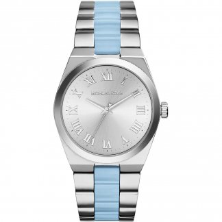 Ladies Channing Sleek Steel & Chambray Blue Watch MK6150
