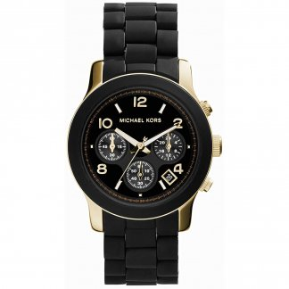 Ladies Dual Tone Black & Gold Runway Watch