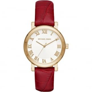 Ladies Garnet Leather Gold Plated Norie Watch MK2618