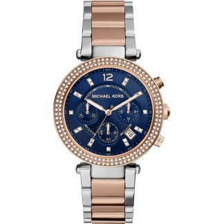 Ladies Glitzy Blue Dial Two Tone Parker Watch MK6141