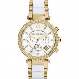 Ladies Glitzy Parker Dual Tone Chronograph Watch MK6119