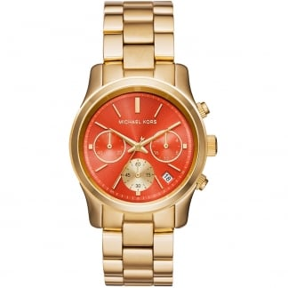 Ladies Runway Orange Dial Gold Chronograph Watch MK6162