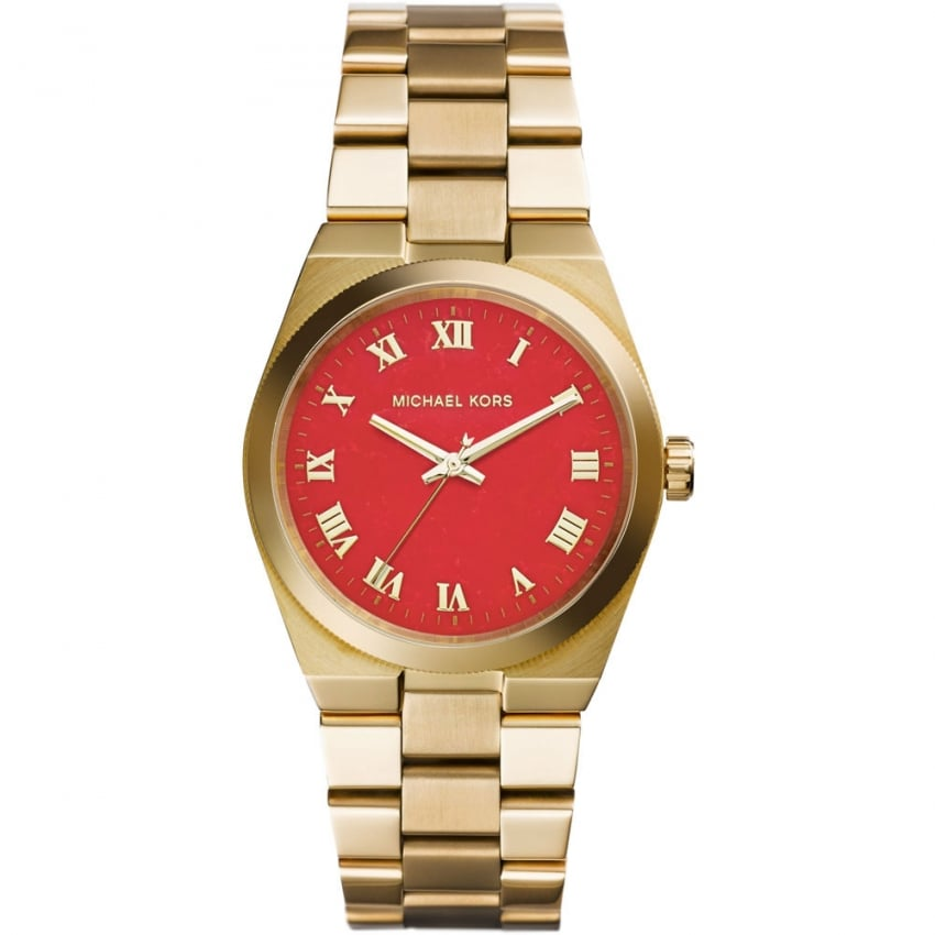 Michael Kors Ladies Gold Plated Red Dial Channing Watch MK5936