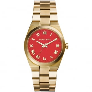 Ladies Gold Plated Red Dial Channing Watch MK5936