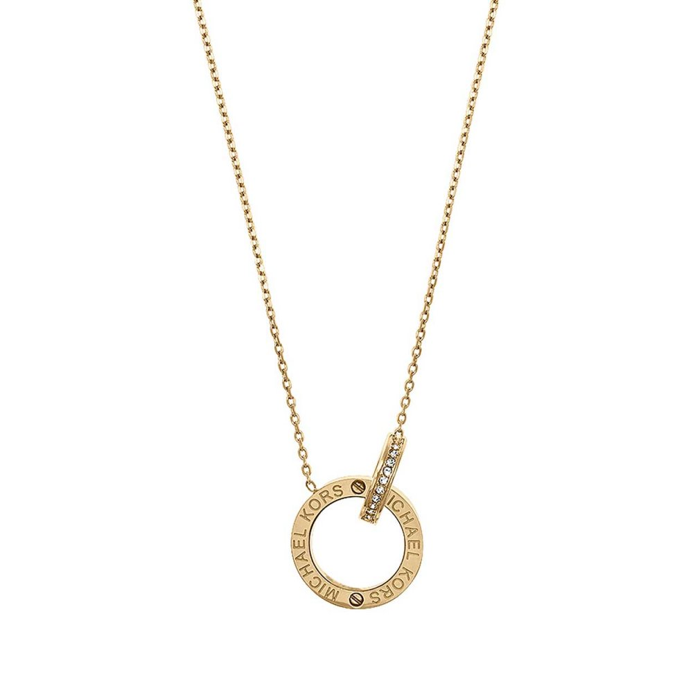 michael kors ladies gold plated interlocking logo necklace michael kors from francis gaye. Black Bedroom Furniture Sets. Home Design Ideas