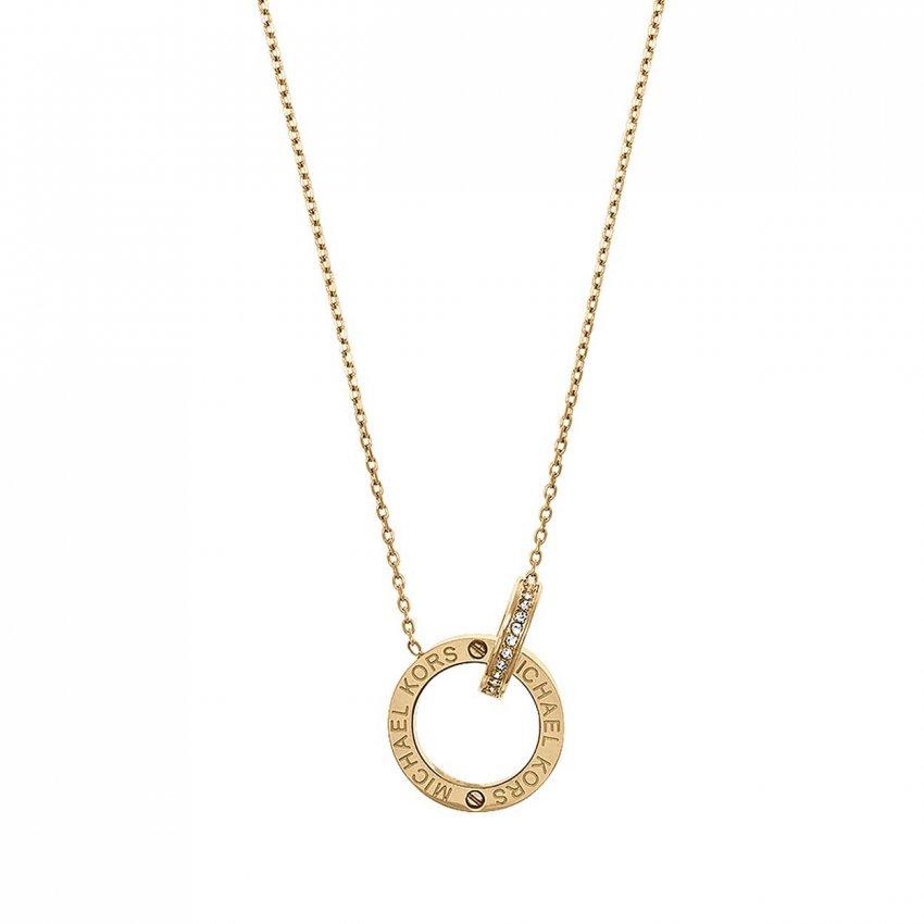 Michael Kors Ladies Gold Plated Interlocking Logo Necklace MKJ4678710