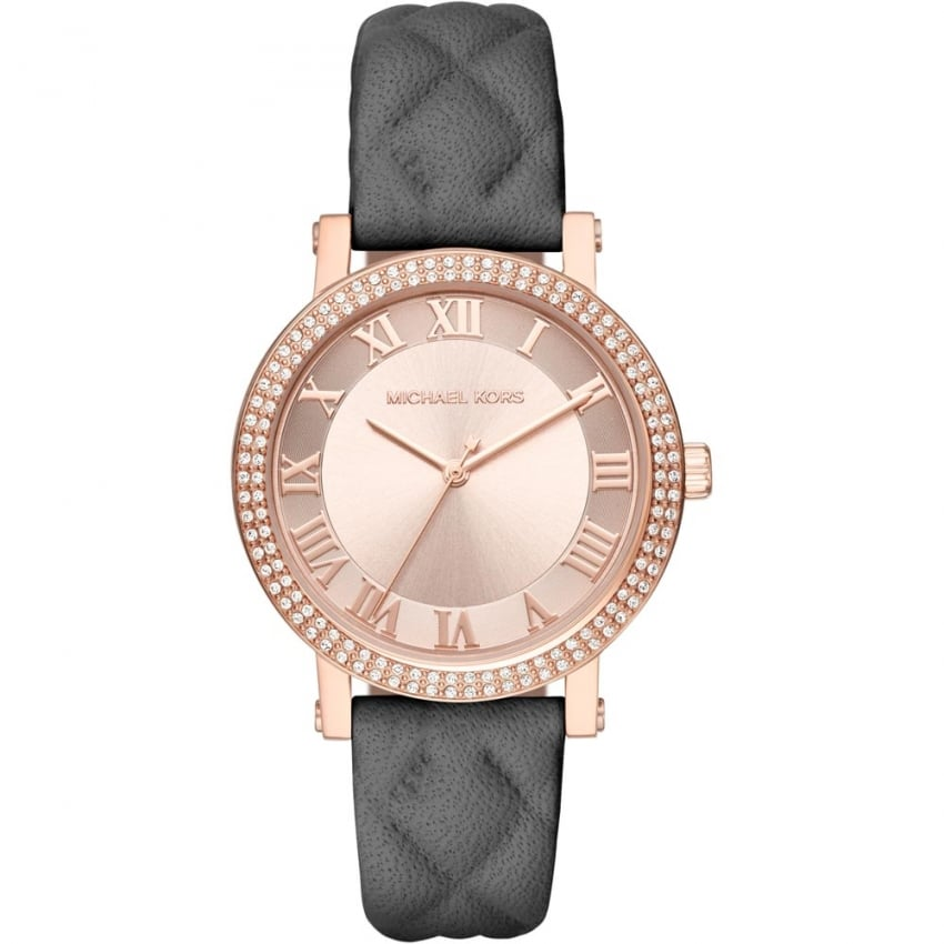 michael kors ladies grey quilted leather rose gold norie watch watches from francis gaye. Black Bedroom Furniture Sets. Home Design Ideas