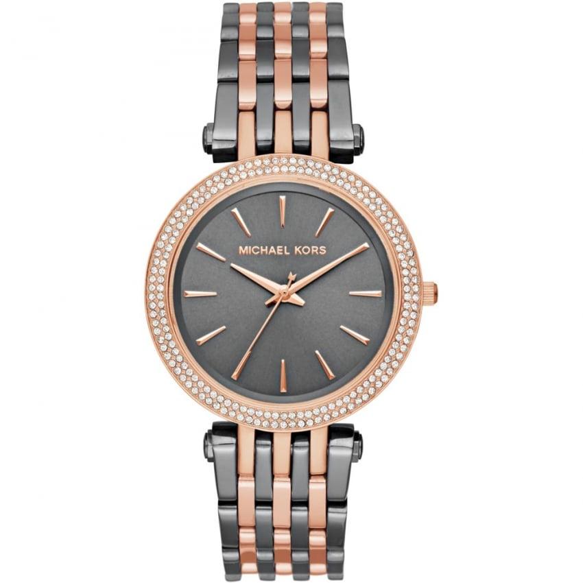 Michael Kors Ladies Gunmetal & Rose Gold Darci Glitz Watch MK3584