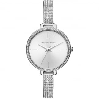 Ladies Jaryn Silver Stone Set Bezel & Half-Bangle Bracelet Watch