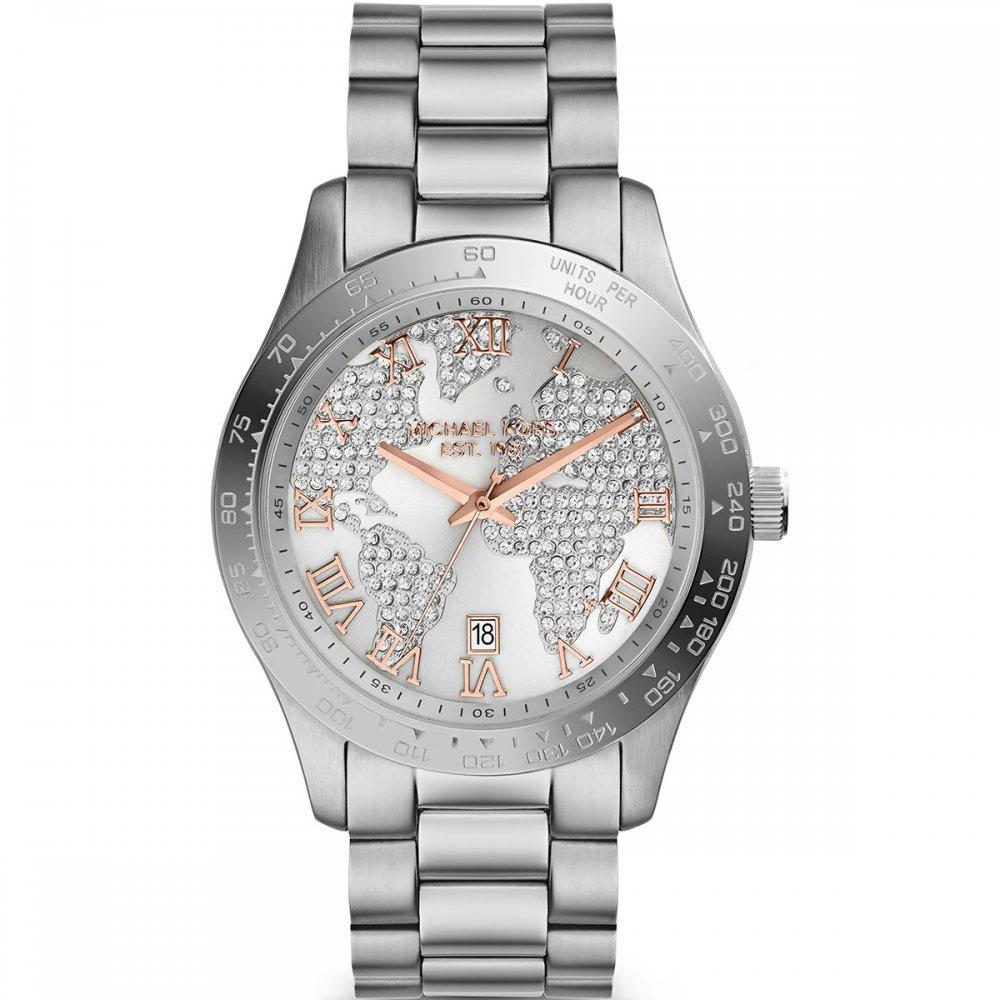 719db45a0a94 Michael Kors Ladies Layton Silver Tone Watch with Pave Globe ...