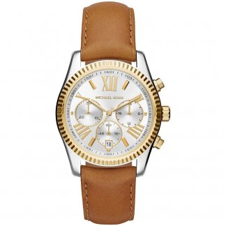 Ladies Lexington Tan Leather Chronograph Watch MK2420