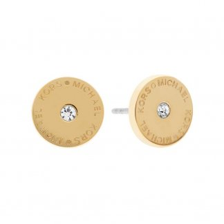 Logo Round Crystal Gold Plated Studs MKJ4668710