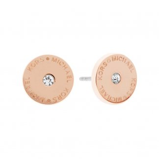 Ladies Logo Round Crystal Rose Gold Studs MKJ4670791