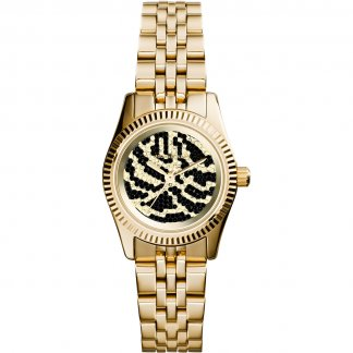 Ladies Mini Lexington Gold Tone Watch with Pave Zebra Dial MK3300
