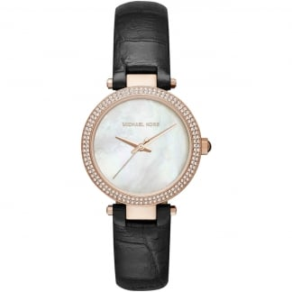 Ladies Mini Parker Rose PVD Black Strap Watch MK2591
