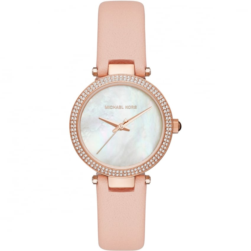michael kors michael kors ladies mini parker rose pvd pink strap watch. Black Bedroom Furniture Sets. Home Design Ideas