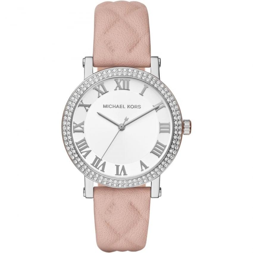 Michael Kors Ladies Norie Glitz Pink Quilted Strap Watch MK2617