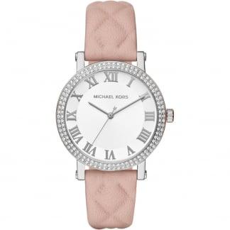 Ladies Norie Glitz Pink Quilted Strap Watch MK2617