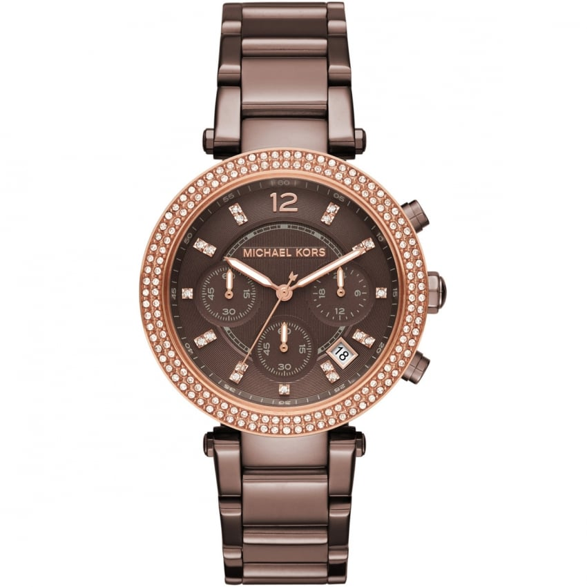 Michael Kors Ladies Parker Chocolate Glitzy Chronograph Watch MK6378