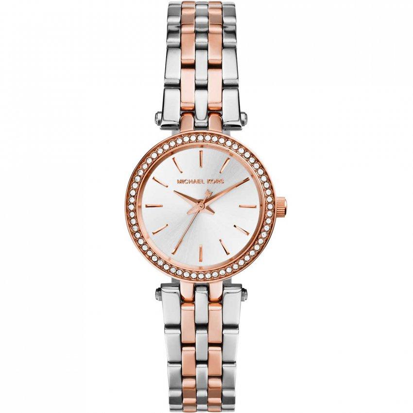 Michael Kors Ladies Petite Darci Two Tone Watch with Stone Set Bezel MK3298