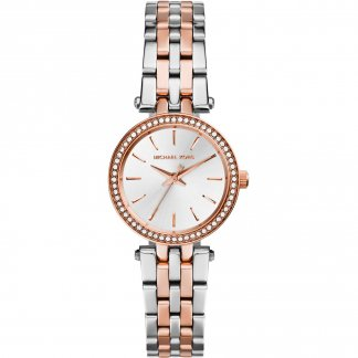 Ladies Petite Darci Two Tone Watch with Stone Set Bezel