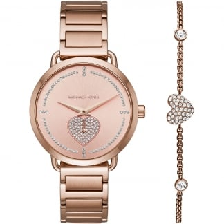 Ladies Portia Rose Gold Stone Set Watch & Bracelet Gift Set
