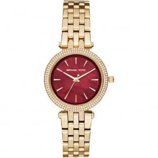Ladies Red Mother of Pearl Gold Mini Darci Watch MK3583