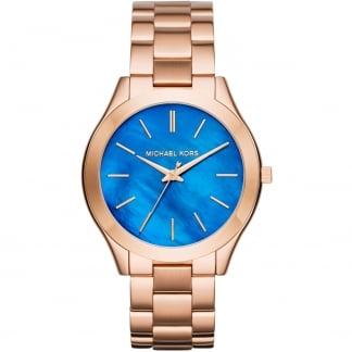 Ladies Rose Gold Mini Slim Runway Blue MOP Watch MK3494