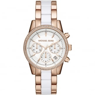 Ladies Rose Gold & White Ritz Chronograph Watch MK6324