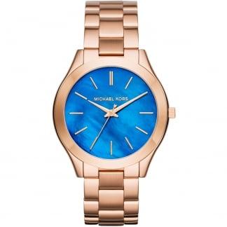 Ladies Rose Gold Mini Slim Runway Blue MOP Watch MK3494