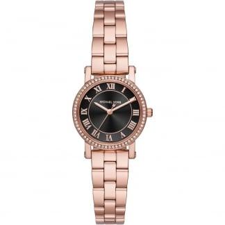 Ladies Rose Gold Petite Norie Stone Set Watch MK3599