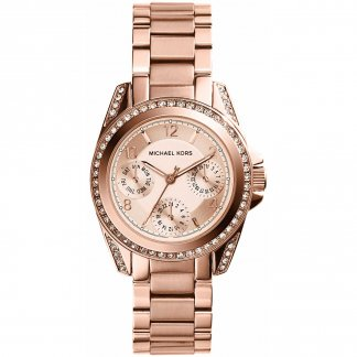 Ladies Rose Gold Steel Stone Set Mini Blair Watch MK5613