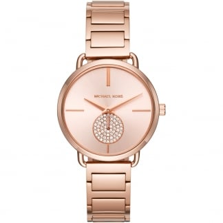 Ladies Rose Gold Stone Set Portia Watch