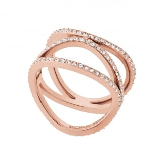 Ladies Rose Gold Wavy Strand Ring