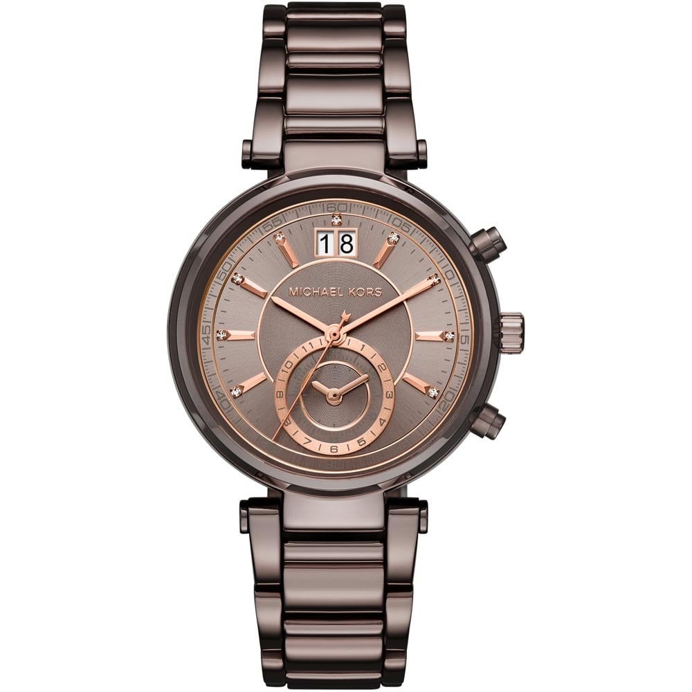 1c65c491bc1 Michael Kors Ladies Sawyer Brown IP Chronograph Watch - Watches from ...
