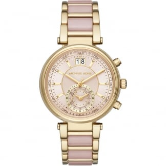Ladies Sawyer Gold & Blush Chronograph Watch MK6360
