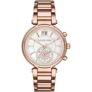 Ladies Sawyer Rose Gold Chronograph Watch MK6282