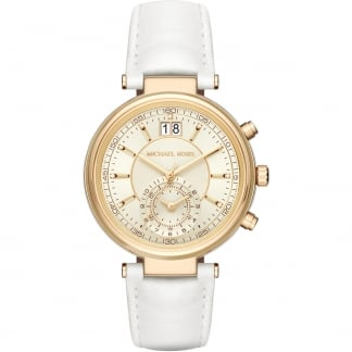 Ladies Sawyer White Leather Chronograph Watch MK2528