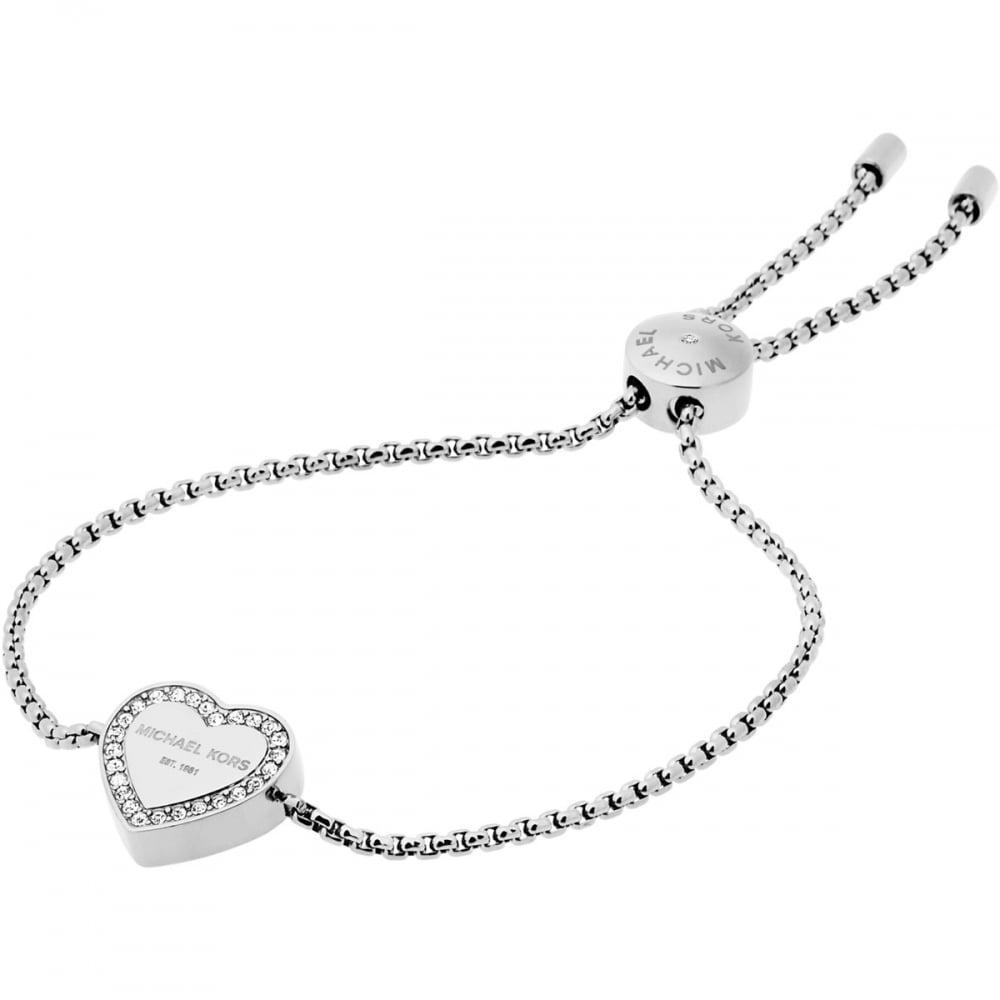3942728241b9d Michael Kors Ladies Silver Heritage Heart Slider Bracelet Product Code   MKJ5390040