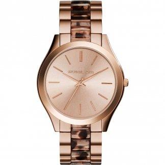 Ladies The Slim Runway Rose Gold & Tortoiseshell Watch MK4301