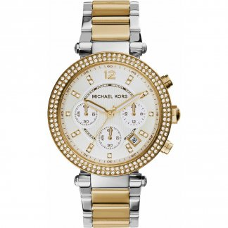 Ladies Two Tone Parker Glitz Chronograph Watch MK5626