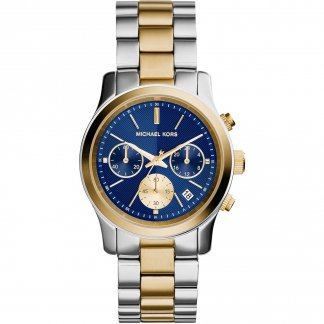 Ladies Two Tone Runway Blue Chronograph Watch MK6165