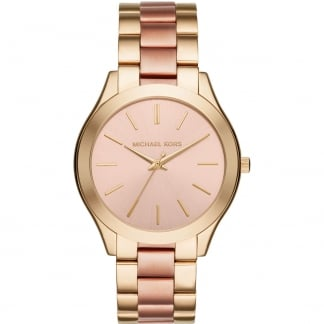 Ladies Yellow Gold & Rose Slim Runway Watch MK3493