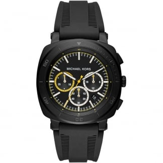 Men's Bax Black PVD Silicone Strap Watch