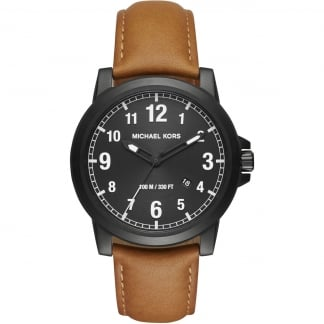 Men's Black PVD Paxton Tan Strap Watch MK8502
