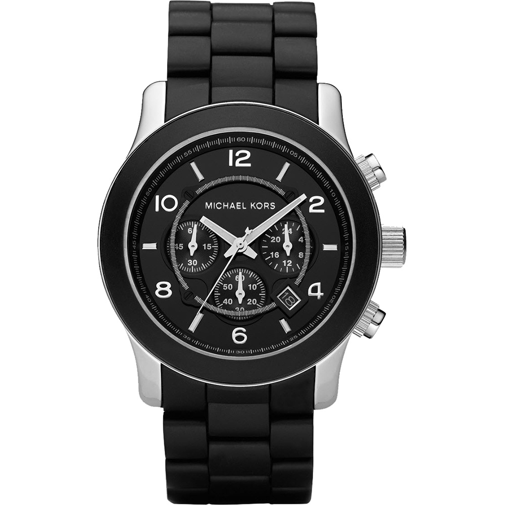 mk8107 men s michael kors watch official store francis gaye men 039 s black rubber coated steel bracelet watch