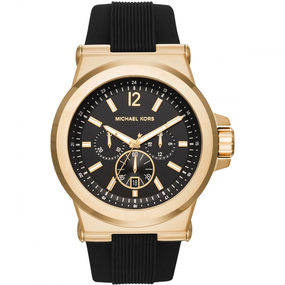 michael kors mk8445 watch francis gaye jewellers michael kors men s dylan gold tone rubber chronograph watch mk8445