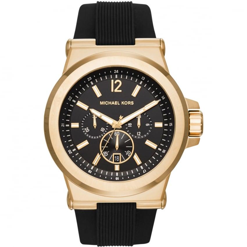 Michael Kors Men's Dylan Gold Tone Rubber Chronograph Watch MK8445