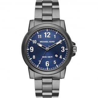 Men's Gunmetal Paxton Watch With Blue Dial MK8499